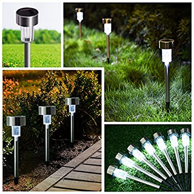 iHomy Solar Lights, 12Pack Outdoor LED Garden Lights, Solar Pathway Lights, Landscape Lighting for Lawn, Patio, Yard, Walkway and Driveway (Stainless Steel)