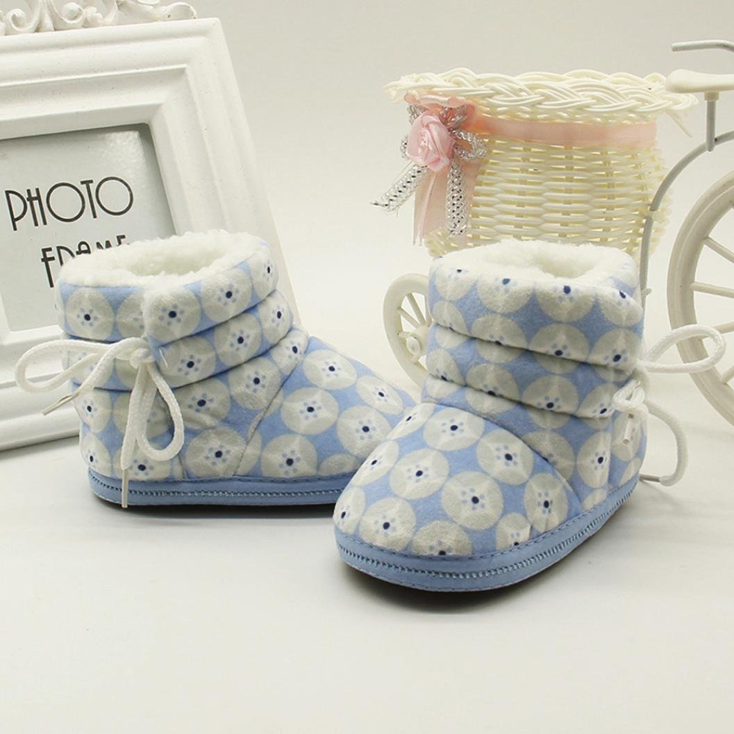 Fashion Baby Walking Shoes Flower Print Keep Warm Winter Snow Boots