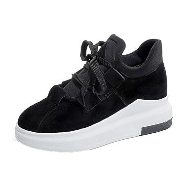 75f0aaed89093 ZARLLE Zapatos Zapatillas Deportivas de Mujer Mujer Adelgazar Aumentados  Plataforma de Deportes Informal de Cuero Casual Zapatillas de Deporte Botas  ...