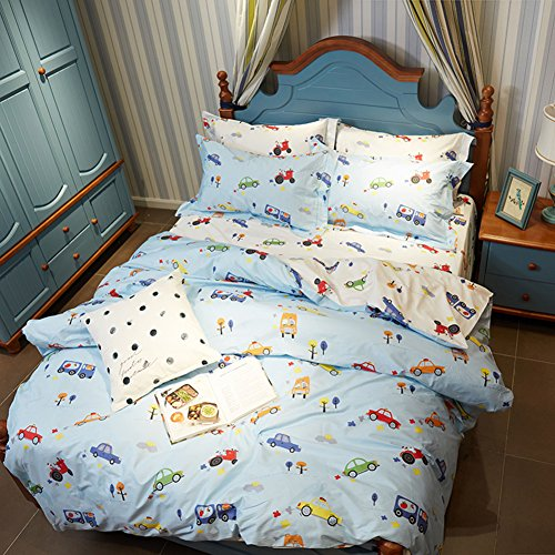Sets Blue - MeMoreCool 100% Cotton Reactive Printing AB Version Duvet Cover and Flat Sheet Twin (New Car Twin Quilt)