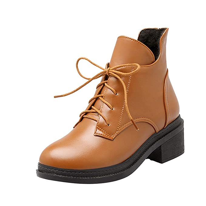 ZARLLE_Botas Botas Mujer Invierno,ZARLLE Moda Mujer Botas tacón Alto Botas Encaje hasta el Tobillo Zapatos Damas Zapatillas Botines Zapatos de otoño ...