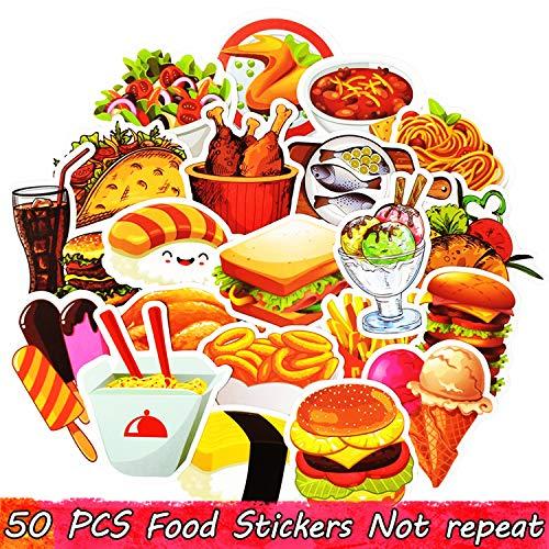 50 PCS Fast Food Drink Stickers Cartoon Delicious Dessert Diet Creative Sticker to DIY Refrigerator Laptop Luggage Fridge Bike Cute Stickers