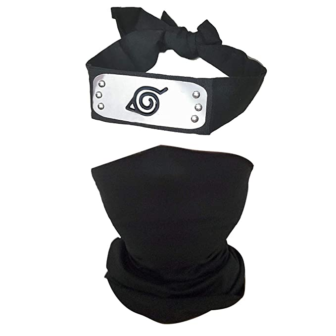 IDOXE Leaf Village Headband Unisex Kakashi Cosplay Mask with Ninja Kunai Japanese Anime Accessories