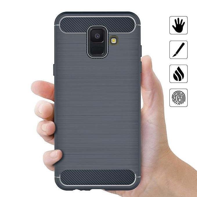 Coovertify Funda Shield Blue Carbon Samsung A6 2018, Carcasa Azul TPU Gel Silicona Flexible Efecto Fibra de Carbono para Samsung Galaxy A6 2018 (5,6