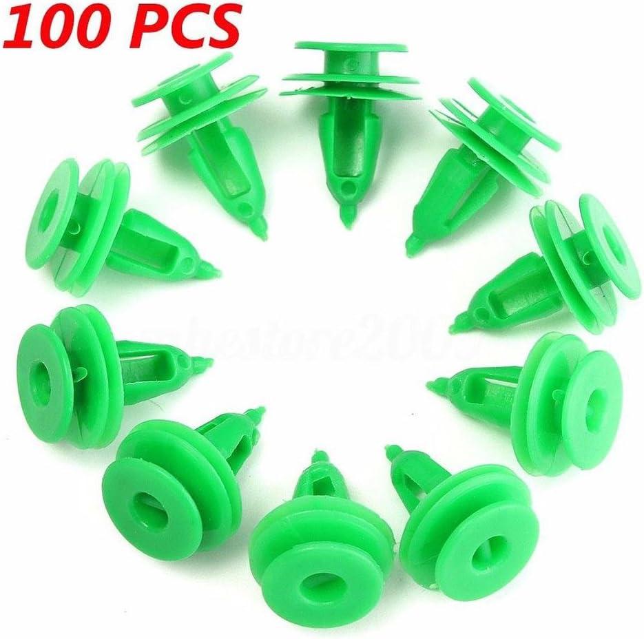 Niome 100pcs Door Panel Clip Trim Fastener Green Plastic Rivets
