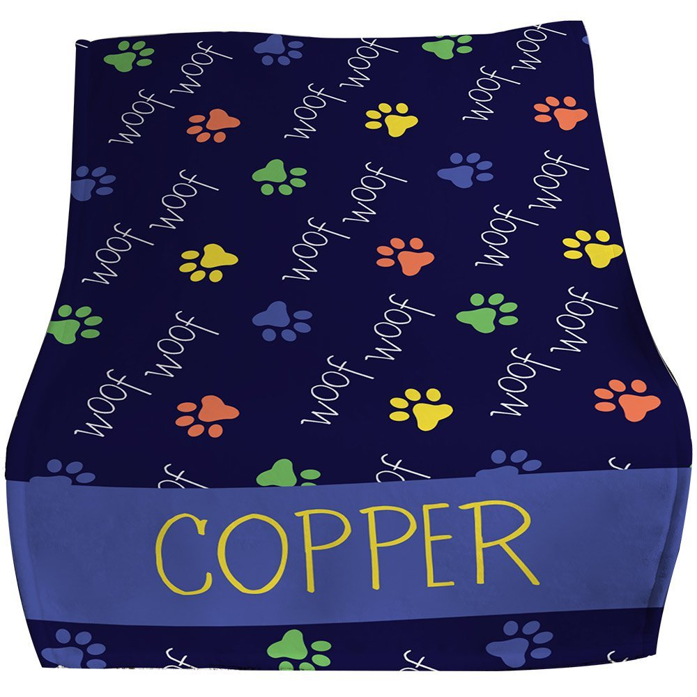 GiftsForYouNow Woof Woof Personalized Pet Throw Blanket, Blue by GiftsForYouNow