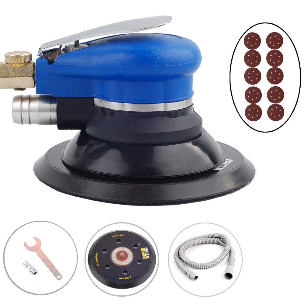 6' Air Random Orbital Palm Orbit Sander 150mm Dual Action Vacuum + 10 Sandpapers unbranded