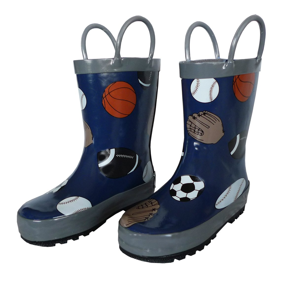 Foxfire for Kids Navy Rubber Boot with Gray Trim and Baseball, Football, Soccer and Basketball Pattern