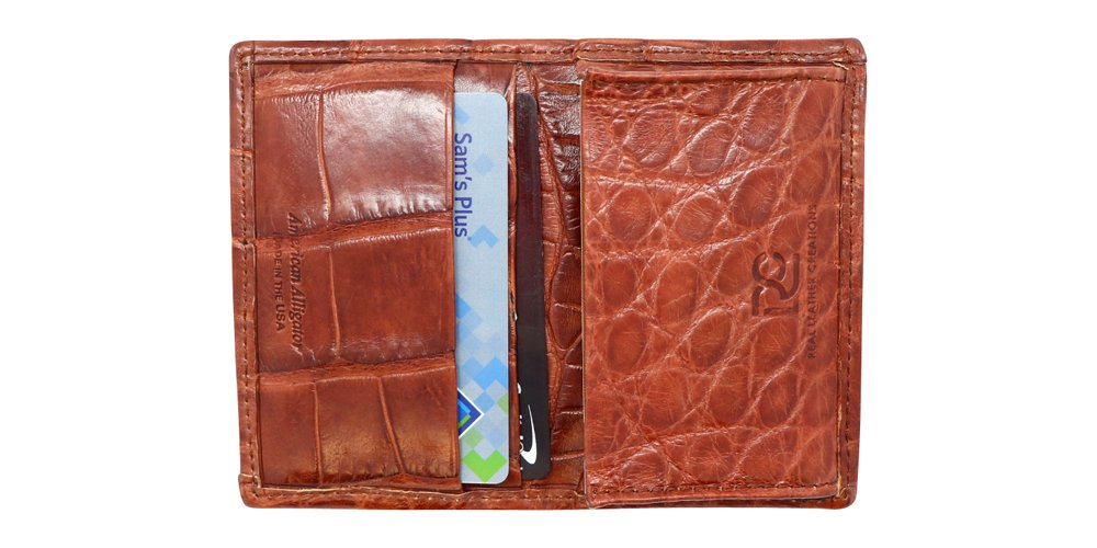 Cognac Genuine Millennium Alligator Gusseted Business/Credit Card Case Wallet – Alligator Inside and Out - Brown & Cognac - Factory Direct Made in USA by Real Leather Creations FBA302 by Real Leather Creations (Image #2)