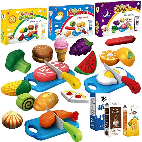 FUNERICA 3-Set Cuttable Toy Food - Breakfast Lunch & Dinner Play Food. Includes Realistic Looking Play Vegetables, Play Fruits, Hamburger, Fish, Meat, Cake, Ice Cream and More