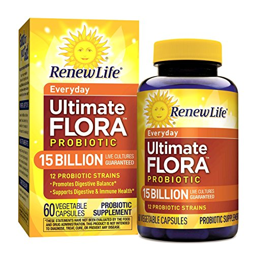 Billion 60 Capsules (Renew Life - Ultimate Flora Probiotic Everyday - 15 billion  - 60 vegetable capsules)