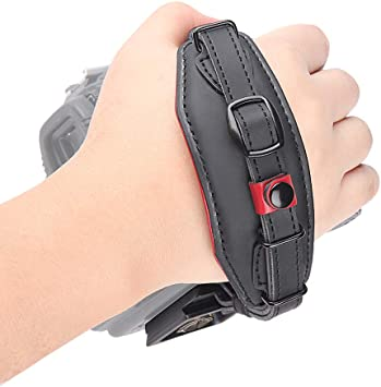 E6 Black Leather Hand Strap Belt DSLR Camera Grip Wrist Hand Strap with Metal Quick Release Plate for Canon Nikon Pentax Sony Panasonic Olympus.