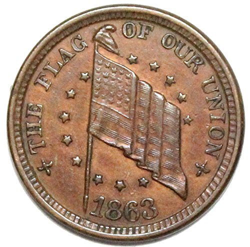 1863 Flag of our Union Shoot Him on the Spot Civil War Token CWT Fine+