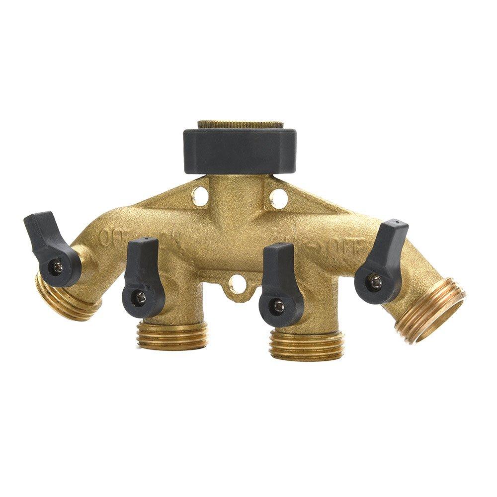 AKRAF Solid Brass 4 Way Hose Splitter Water Spigot, Garden Tap Hose Manifold with Leak-free Brass Ball Valves 3/4''