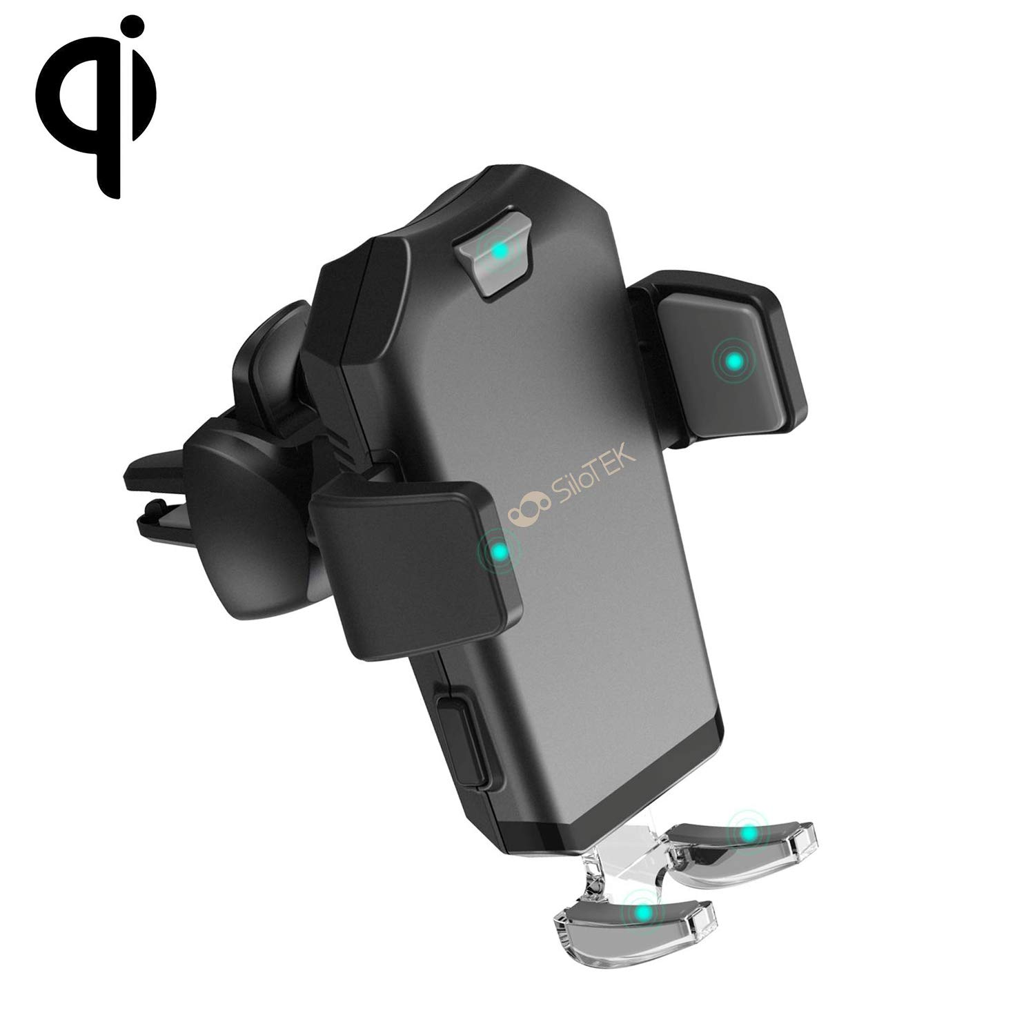 SiloTEK Wireless Car Charger Mount Qi Fast Charging Adjustable Gravity Air Vent Automatic Phone Holder Compatible with iPhone8/ 8 Plus/X/XS/XS Max/XR Galaxy S8/S9/S8+/S9+/Note 8 (Black)