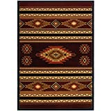 1'10'' x3ft Orange Brown Black Multi Colored Geometric Terracotta Accent Rug, Indoor Southwestern Indian Inspired Lodge Cabin Native American Mat Fireplace, Handcarved Log Style Polypropylene