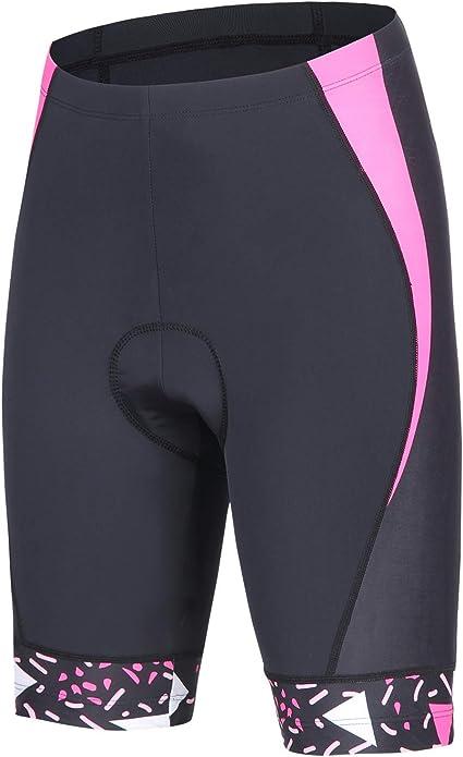 BEROY Pantalones Cortos de Ciclismo Mujeres 4D Gel Acolchado MTB ...