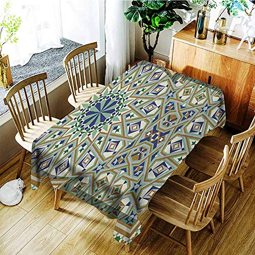 XXANS Rectangular Tablecloth,Turkish Pattern,Arabic Arch and Frame with Geometric Details Stars and Triangles,Party Decorations Table Cover Cloth,W60x120L Caramel Green Indigo