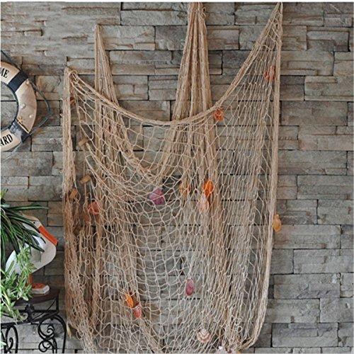 Youbedo Nautical Fish Net With Shells Decoration Retro Photo