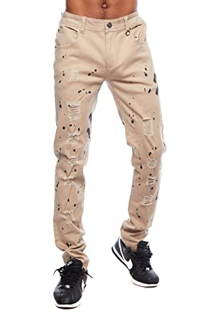 04ed7531a5 GENx Mens Casual Distressed Paint Splatter Slim Fit Pants Jeans COSF ...