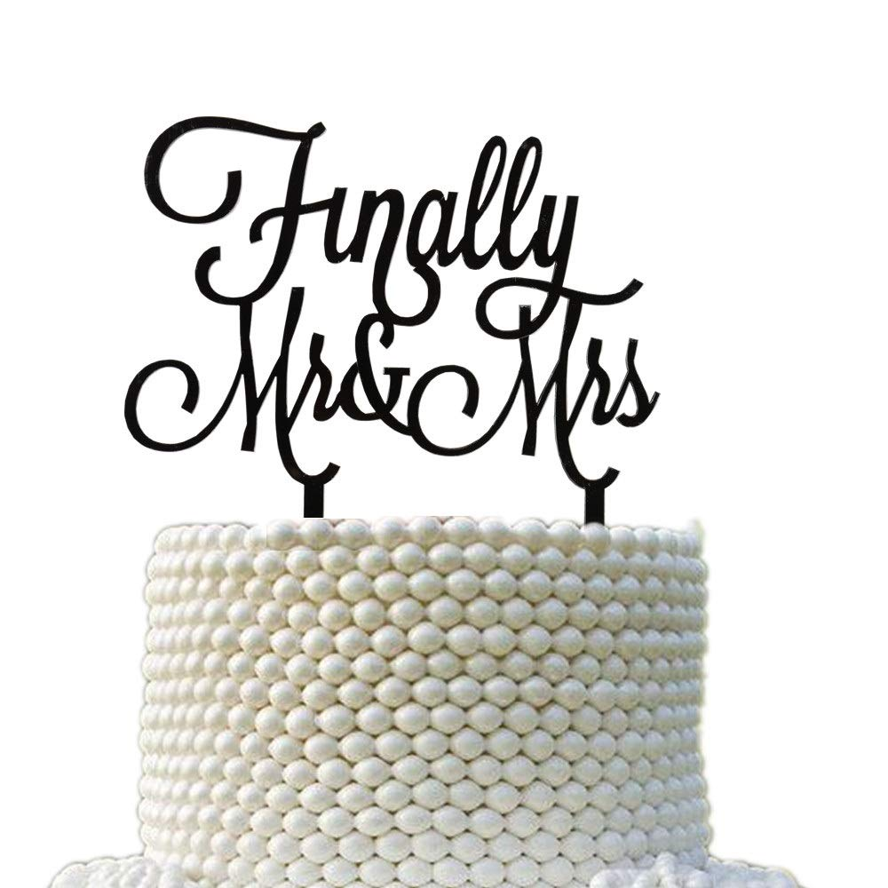 Finally Mr & Mrs Wedding Cake Topper, Wedding Anniversary Bridal Shower Party Decorations, Party Supplies Black Acrylic Food Safe Monogram Finally Mr & Mrs Cake Topper Decoration (Black)