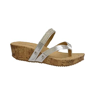 e310b84d0bceb9 Beaulies Womens Silver Comfort Strappy Sandals (11 M