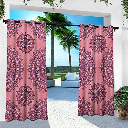 (leinuoyi Purple Mandala, Outdoor Curtain Waterproof, Ancient Filigree Art Inspired Ethnic Bohemian Kitsch Oriental Display, Fabric W72 x L108 Inch Coral Fuchsia)