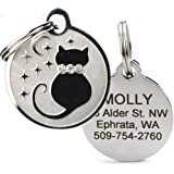 GoTags Designer Pet ID Tags in Stainless Steel for Dogs and Cats, Custom Engraved with 4 Lines of Personalized ID, Cute…