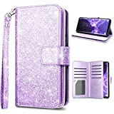 #8: Samsung S9 Case,Galaxy S9 Wallet Case,Fingic Glitter Sparkle Cover 9 Card Holder PU Leather Detachable Wrist Strap Wallet Case for Women Cover for Samsung Galaxy S9 (5.8inch),Purple