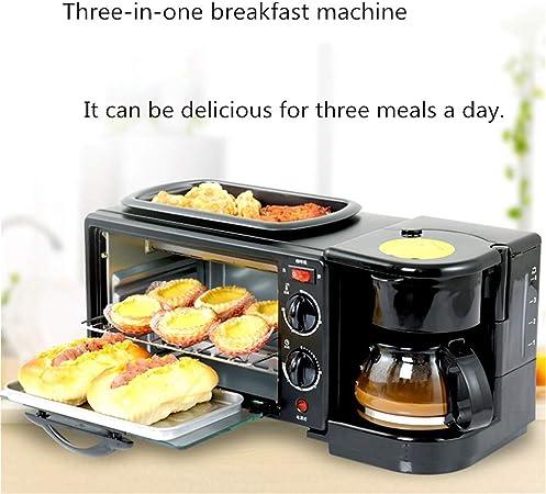 MEETGG MÁ quina de Desayuno Multifuncional para la Familia Cafetera de Desayuno Mini Buffet 3 en 1 mÁ quina de Desayuno MÁ quina tostadora DomÉ Stica para cocinar al Vapor: Amazon.es