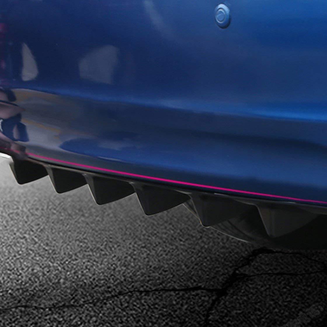 BlackPJenny Universal Car Rear Bumper Lip Diffuser 7 Fin Shark Fin Style Car Back Bumper Spoiler Lip Splitter Car-Styling ABS Plastic