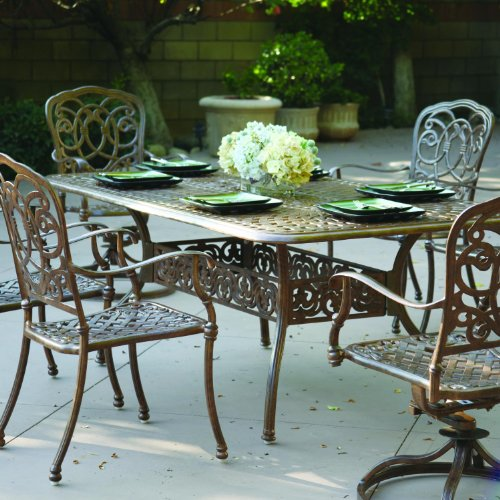 Darlee Florence 7 Piece Cast Aluminum Patio Dining Set With Rectangular Table - Antique Bronze -