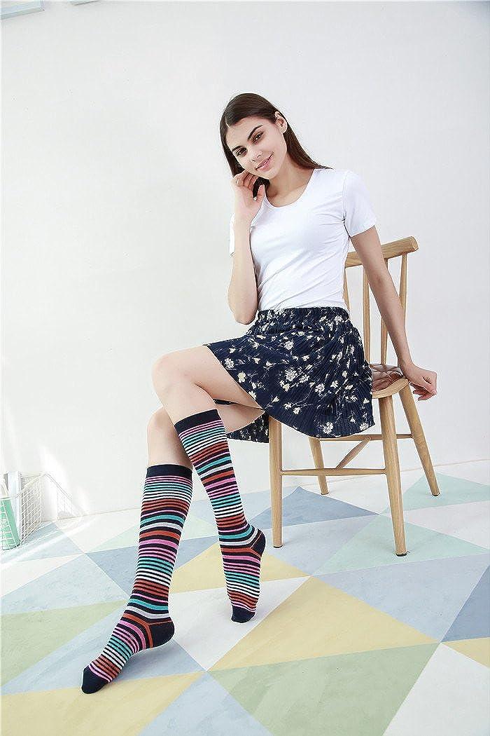 6 Pair Womens Patterned Cotton Trouser Socks