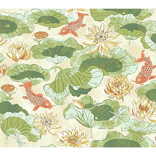 York Wallcoverings Waverly Classics II Lotus Lake Removable Wallpaper, Greens ()