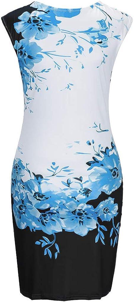 HARRYSTORE Womens Bodycon Dress Floral Print Chinese Qipao Pencil Dress Ladies Light Knee Length Wedding Dress Stretch Formal Beach Party Dress