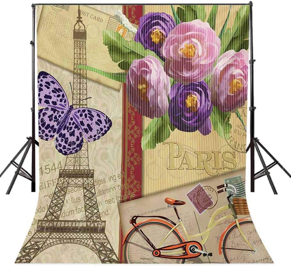 10x15 FT Backdrop Photographers,Famous French Landmark Eiffel Tower Postcards with Abstract Striped Backdrop Background for Baby Shower Birthday Wedding Bridal Shower Party Decoration Photo Studio