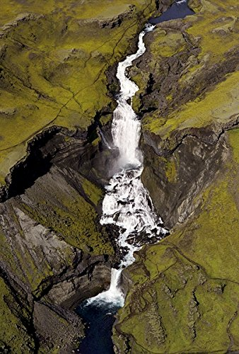 Iceland - Aerial view of waterfall and river 30x40 photo reprint by PickYourImage
