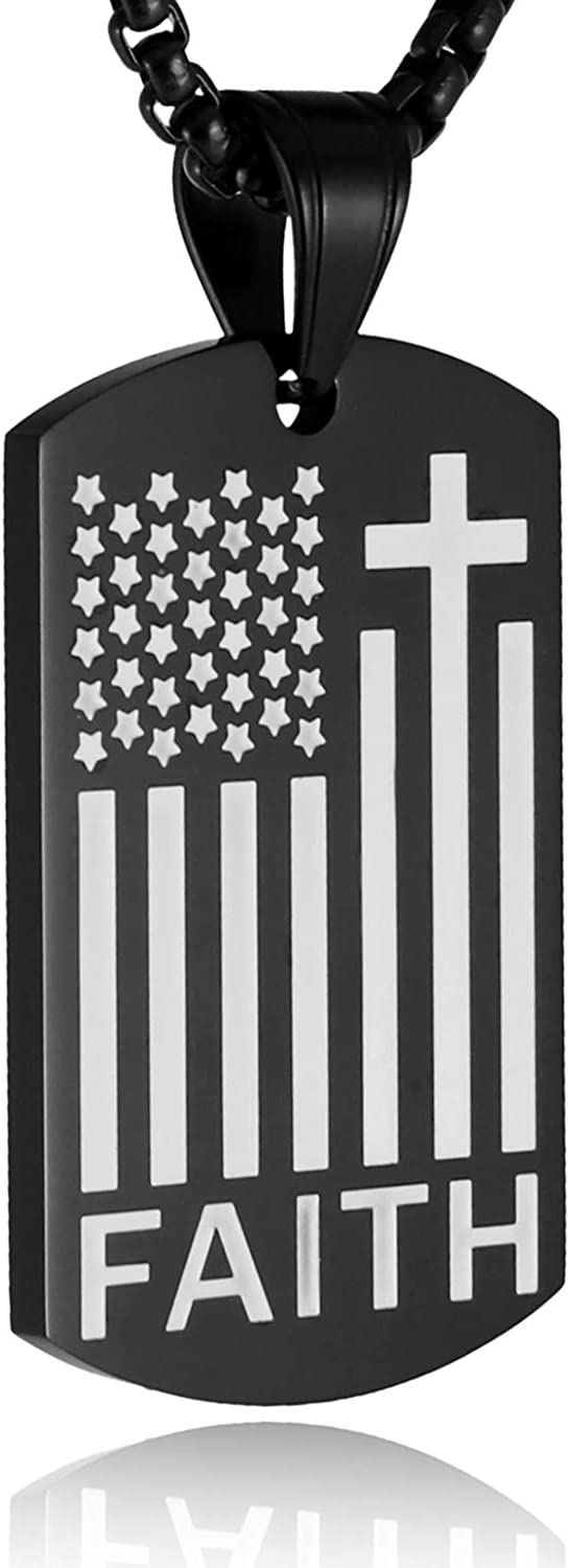 HZMAN American Flag Patriotic Cross Dog Tag Religious Faith Jewelry Pendant Necklace