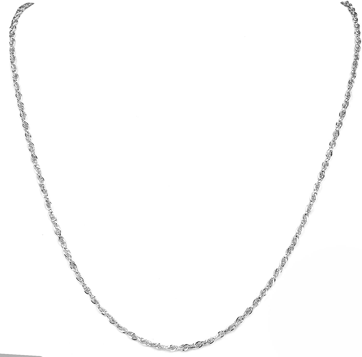 925 Sterling Silver Italian Made Necklace 3.0mm Round Wheat Chain 18 20 22 24 26 28 Italy Necklace Diamond Cut Rope for Women and Men