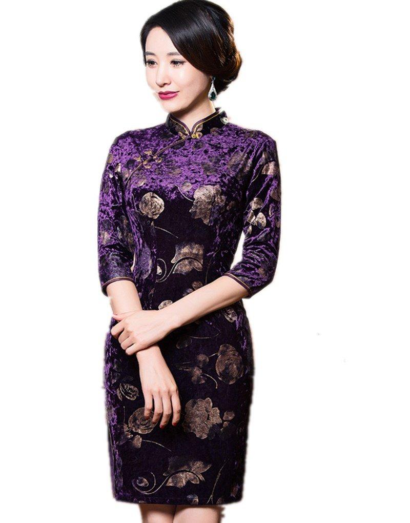 Shanghai Story Floral Embrodiery Qipao 3 4 Sleeve Velvet Cheongsam 2XL 311