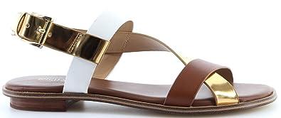 1c114480d3 Michael Kors Women's Shoes Mackay Flat Sandal Leather 40S8MCFA2L Lugg Gold  New