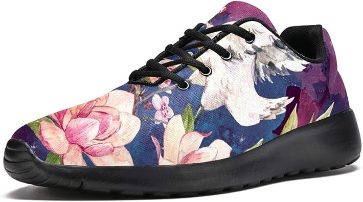 TIZORAX Zapatillas de Running para Hombre, Grúa Voladora En Cerezo, Malla Transpirable, Senderismo, Tenis, Talla 4,5: Amazon.es: Zapatos y complementos