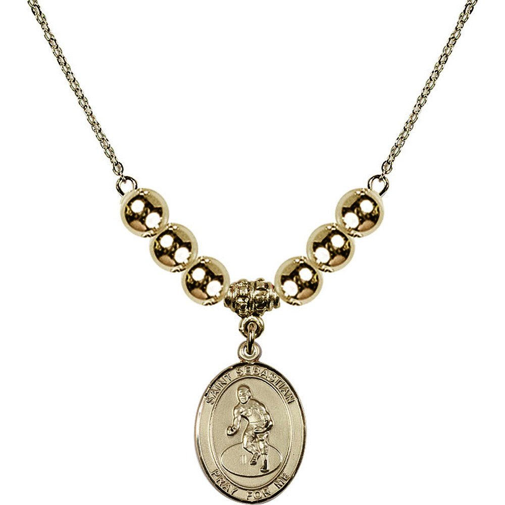 18-Inch Hamilton Gold Plated Necklace with 6mm Gold Filled Beads and Saint Sebastian/Wrestling Charm