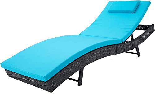 SOLAURA Patio Outdoor Furniture Adjustable Chaise Lounge-Black All Weather Wicker and Thick Blue Cushion Sofa Couch Bed