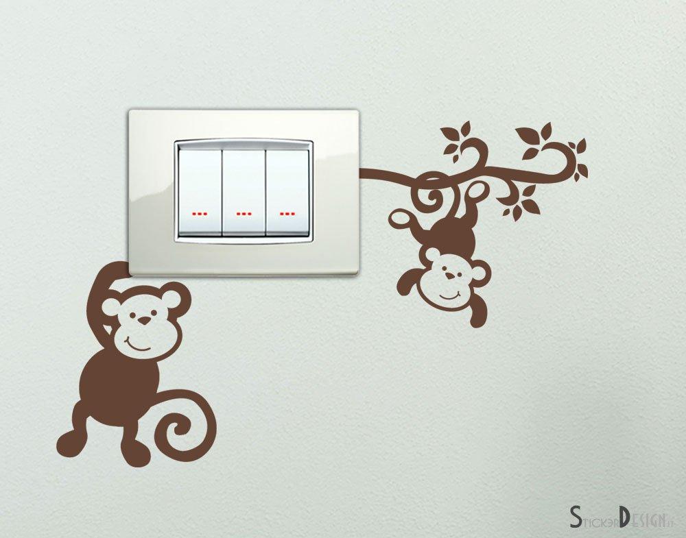 Adesivi per interruttore spine placche Adesivo Simpatiche Scimmiette Wall Stickers decorativo Scimmiette Adesive Murali Decorazione Cameretta