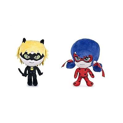Prodigiosa 2x Peluches Ladybug y Adrien Cat Noir 20cm Las aventuras de Ladybug Muñecos Superhéroes Adrian y Marinette Peluche Superheroína Miraculous: Juguetes y juegos