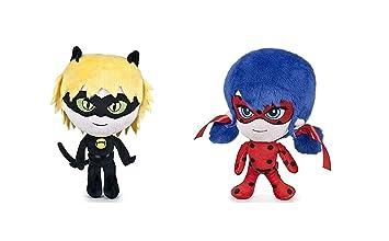 Prodigiosa 2x Peluches Ladybug y Adrien Cat Noir 20cm Las aventuras de Ladybug Muñecos Superhéroes Adrian