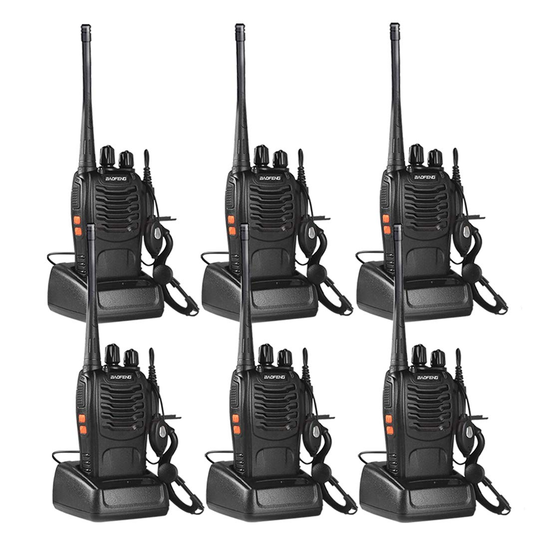 Walkie Talkies for Adult, Rechargeable Two Way Radios Long Range with Original Earpiece by Sunreal Pack of 6