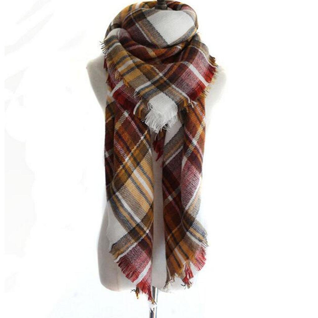 Donne Tenere caldo Freddo sciarpa moda reticolo scialle Doppio uso Piazza