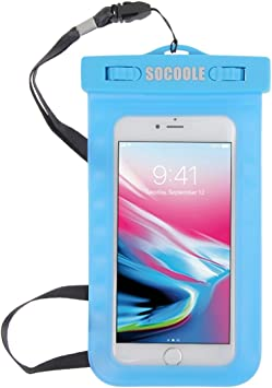 Funda impermeable para teléfono móvil, resistente al agua, bolsa con cinta para llaves de hasta aprox. 6 pulgadas para la mayoría de modelos de smartphone, por ejemplo, Samsung Galaxy S8/S7/S6/iPhone 7/6/6S azul.: